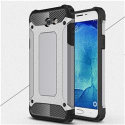 King Kong Armor Premium Shockproof Dual Layer Rugged Hard Cover for Samsung Galaxy J7 2017 Halo US Edition - Silver Grey