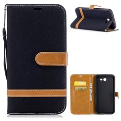 Jeans Cowboy Denim Leather Wallet Case for Samsung Galaxy J7 2017 Halo - Black