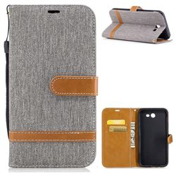 Jeans Cowboy Denim Leather Wallet Case for Samsung Galaxy J7 2017 Halo - Gray