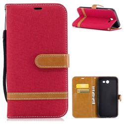Jeans Cowboy Denim Leather Wallet Case for Samsung Galaxy J7 2017 Halo - Red