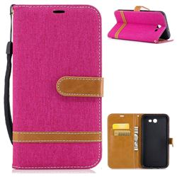 Jeans Cowboy Denim Leather Wallet Case for Samsung Galaxy J7 2017 Halo - Rose