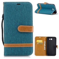Jeans Cowboy Denim Leather Wallet Case for Samsung Galaxy J7 2017 Halo - Green