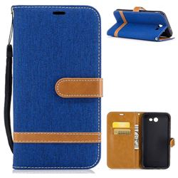 Jeans Cowboy Denim Leather Wallet Case for Samsung Galaxy J7 2017 Halo - Sapphire