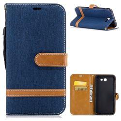 Jeans Cowboy Denim Leather Wallet Case for Samsung Galaxy J7 2017 Halo - Dark Blue