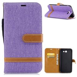 Jeans Cowboy Denim Leather Wallet Case for Samsung Galaxy J7 2017 Halo - Purple