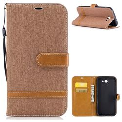 Jeans Cowboy Denim Leather Wallet Case for Samsung Galaxy J7 2017 Halo - Brown