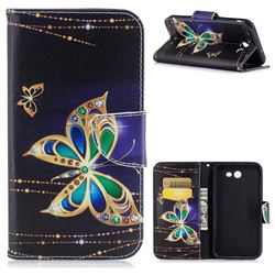 Golden Shining Butterfly Leather Wallet Case for Samsung Galaxy J7 2017 Halo