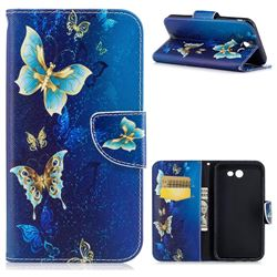 Golden Butterflies Leather Wallet Case for Samsung Galaxy J7 2017 Halo