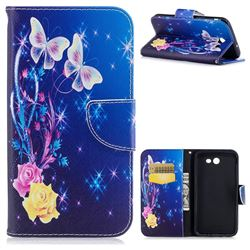 Yellow Flower Butterfly Leather Wallet Case for Samsung Galaxy J7 2017 Halo