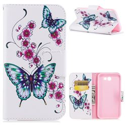 Peach Butterflies Leather Wallet Case for Samsung Galaxy J7 2017 Halo