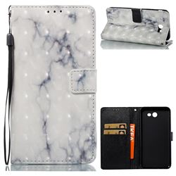 White Gray Marble 3D Painted Leather Wallet Case for Samsung Galaxy J7 2017 Halo