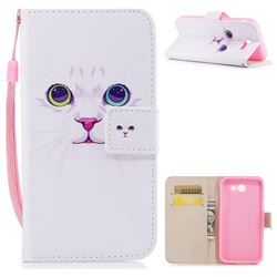 White Cat PU Leather Wallet Case for Samsung Galaxy J7 2017 Halo US Edition