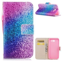 Rainbow Sand PU Leather Wallet Case for Samsung Galaxy J7 2017 Halo US Edition