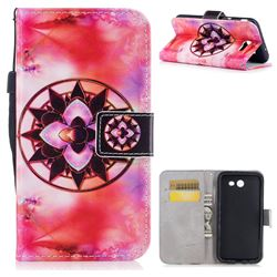 Red Mandala PU Leather Wallet Case for Samsung Galaxy J7 2017 Halo US Edition
