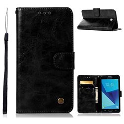 Luxury Retro Leather Wallet Case for Samsung Galaxy J7 2017 Halo US Edition - Black
