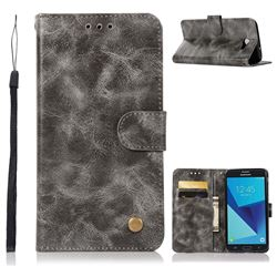Luxury Retro Leather Wallet Case for Samsung Galaxy J7 2017 Halo US Edition - Gray