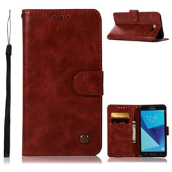 Luxury Retro Leather Wallet Case for Samsung Galaxy J7 2017 Halo US Edition - Wine Red