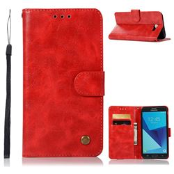 Luxury Retro Leather Wallet Case for Samsung Galaxy J7 2017 Halo US Edition - Red