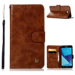 Luxury Retro Leather Wallet Case for Samsung Galaxy J7 2017 Halo US Edition - Brown