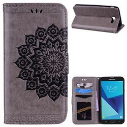 Datura Flowers Flash Powder Leather Wallet Holster Case for Samsung Galaxy J7 2017 Halo US Edition - Gray