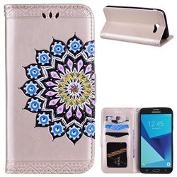Datura Flowers Flash Powder Leather Wallet Holster Case for Samsung Galaxy J7 2017 Halo US Edition - Golden