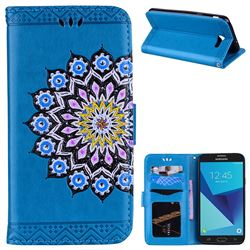 Datura Flowers Flash Powder Leather Wallet Holster Case for Samsung Galaxy J7 2017 Halo US Edition - Blue