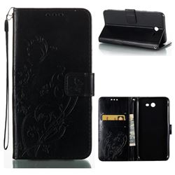 Embossing Butterfly Flower Leather Wallet Case for Samsung Galaxy J7 2017 Halo US Edition - Black