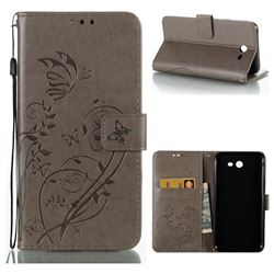 Embossing Butterfly Flower Leather Wallet Case for Samsung Galaxy J7 2017 Halo US Edition - Grey
