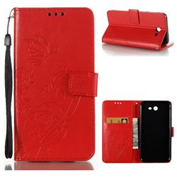 Embossing Butterfly Flower Leather Wallet Case for Samsung Galaxy J7 2017 Halo US Edition - Red
