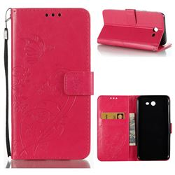 Embossing Butterfly Flower Leather Wallet Case for Samsung Galaxy J7 2017 Halo US Edition - Rose
