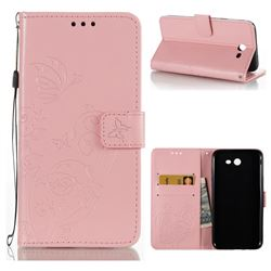 Embossing Butterfly Flower Leather Wallet Case for Samsung Galaxy J7 2017 Halo US Edition - Pink