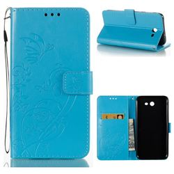 Embossing Butterfly Flower Leather Wallet Case for Samsung Galaxy J7 2017 Halo US Edition - Blue