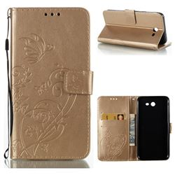 Embossing Butterfly Flower Leather Wallet Case for Samsung Galaxy J7 2017 Halo US Edition - Champagne