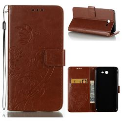 Embossing Butterfly Flower Leather Wallet Case for Samsung Galaxy J7 2017 Halo US Edition - Brown