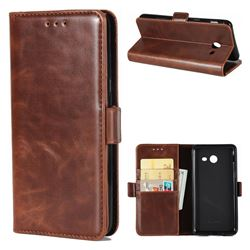 Luxury Crazy Horse PU Leather Wallet Case for Samsung Galaxy J7 2017 Halo US Edition - Coffee