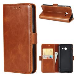 Luxury Crazy Horse PU Leather Wallet Case for Samsung Galaxy J7 2017 Halo US Edition - Brown