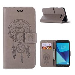 Intricate Embossing Owl Campanula Leather Wallet Case for Samsung Galaxy J7 2017 Halo US Edition - Grey