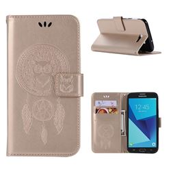 Intricate Embossing Owl Campanula Leather Wallet Case for Samsung Galaxy J7 2017 Halo US Edition - Champagne
