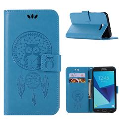 Intricate Embossing Owl Campanula Leather Wallet Case for Samsung Galaxy J7 2017 Halo US Edition - Blue