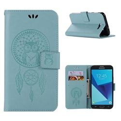 Intricate Embossing Owl Campanula Leather Wallet Case for Samsung Galaxy J7 2017 Halo US Edition - Green