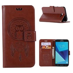 Intricate Embossing Owl Campanula Leather Wallet Case for Samsung Galaxy J7 2017 Halo US Edition - Brown