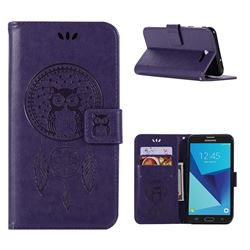 Intricate Embossing Owl Campanula Leather Wallet Case for Samsung Galaxy J7 2017 Halo US Edition - Purple