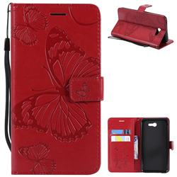 Embossing 3D Butterfly Leather Wallet Case for Samsung Galaxy J7 2017 Halo US Edition - Red