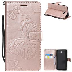 Embossing 3D Butterfly Leather Wallet Case for Samsung Galaxy J7 2017 Halo US Edition - Rose Gold