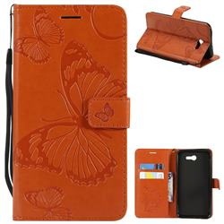 Embossing 3D Butterfly Leather Wallet Case for Samsung Galaxy J7 2017 Halo US Edition - Orange