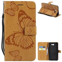 Embossing 3D Butterfly Leather Wallet Case for Samsung Galaxy J7 2017 Halo US Edition - Yellow