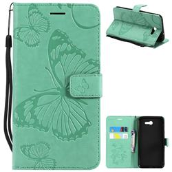 Embossing 3D Butterfly Leather Wallet Case for Samsung Galaxy J7 2017 Halo US Edition - Green