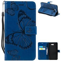 Embossing 3D Butterfly Leather Wallet Case for Samsung Galaxy J7 2017 Halo US Edition - Blue