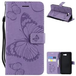 Embossing 3D Butterfly Leather Wallet Case for Samsung Galaxy J7 2017 Halo US Edition - Purple
