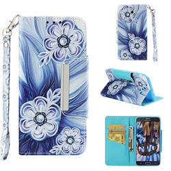 Button Flower Big Metal Buckle PU Leather Wallet Phone Case for Samsung Galaxy J7 2017 Halo US Edition